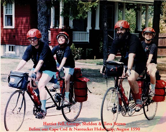 Sheldon Brown and family on home-built tandems