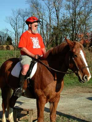 Sheldon on horseback -- briefly