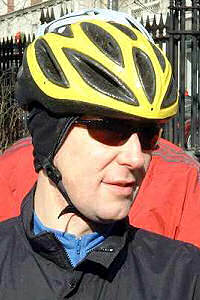 Thin-shell helmet (The helmet wearer is Tom Revay, an avid Boston-area commuter and recreational cyclist.)