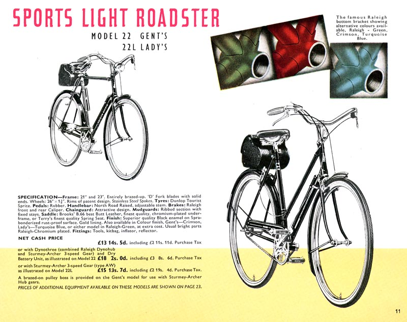 Retro Raleighs-1951 Raleigh Catalogue Page 11 Sports