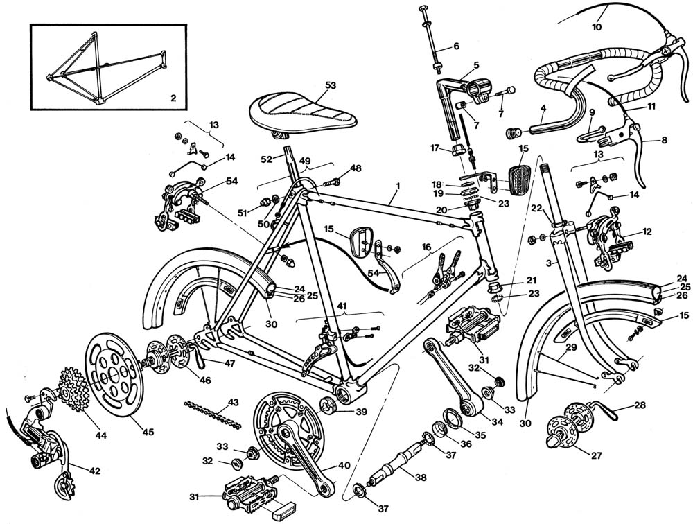raleigh grand prix bicycle exploded drawing from 1977