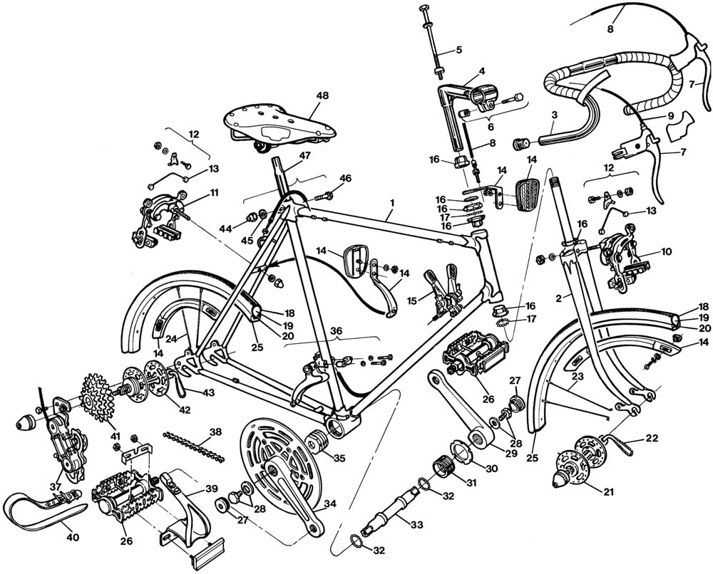 Raleigh Gran Sport Bicycle Exploded Drawing From 1977 Manual Guide